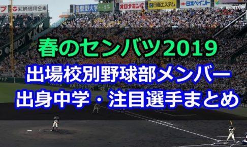 選抜高校野球 2019 出身中学